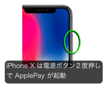 アイフォンXのアップルペイ起動の方法