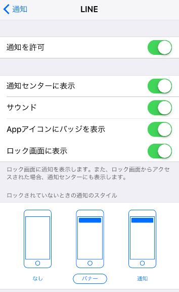 アプリ個別の通知設定