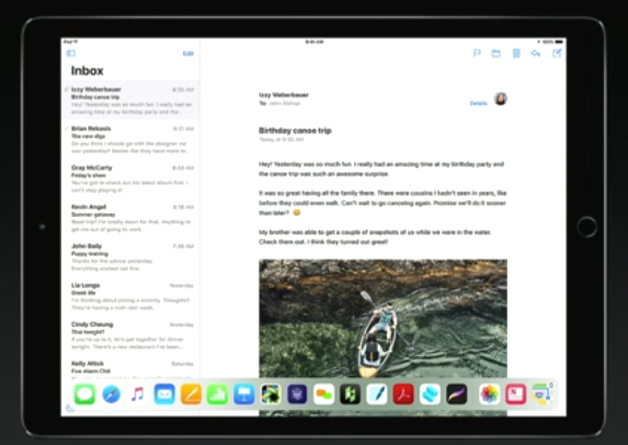 iPad iOS11 ドック機能はどこでも表示可能