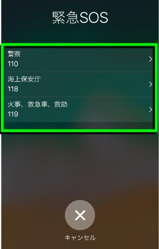 iOS11「緊急SOS」緊急通報先