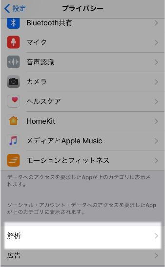 アイフォン使用状況データの共有の設定