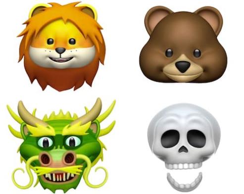 iOS11.3新しいアニ文字、ライオン、クマ、ドラゴン、どくろ