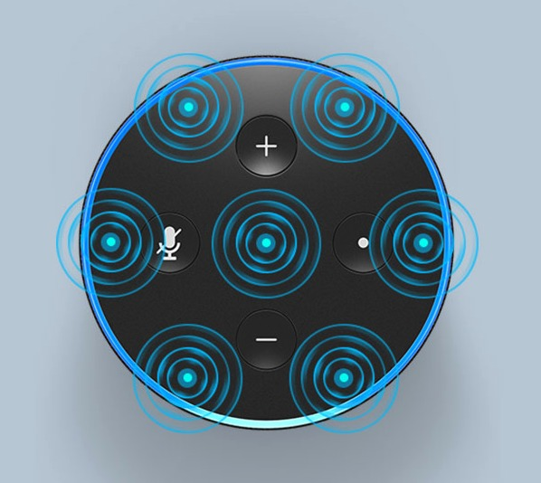 Alexaは7つのマイク搭載で音声を正しく認識